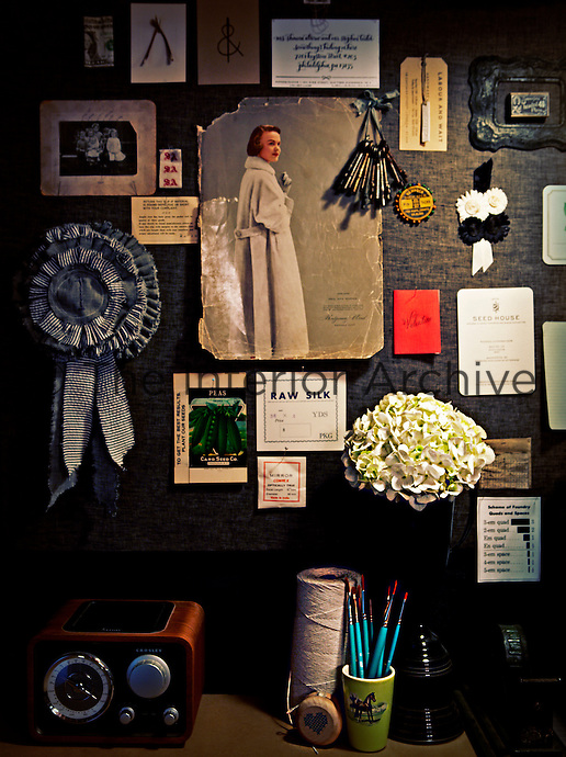 Personal and individual items are displayed on a pinboard.