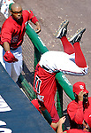 15 June 2006: Ryan Zimmerman, third baseman for the Washington Nationals, dives head-first into the dugout in an attempt to catch a foul ball against the Colorado Rockies at RFK Stadium, in Washington, DC. The Rockies defeated the Nationals, 8-1 to sweep the four-game series...Mandatory Photo Credit: Ed Wolfstein Photo...