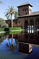 Tower of the Ladies (Partal), Mirador built by Muhammad III, 1302 ? 1309, with the Albaraizin in the distance, The Alhambra, Granada, Andalusia, Spain. Picture by Manuel Cohen