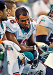 7 December 2008: Miami Dolphins' offensive tackle Brandon Frye studies a play report on the bench during the first regular season NFL game ever played in Canada. The Dolphins defeated the Buffalo Bills 16-3 at the Rogers Centre in Toronto, Ontario. ..Mandatory Photo Credit: Ed Wolfstein Photo
