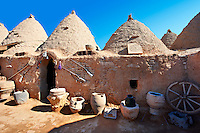 "Pictures of the beehive adobe buildings of Harran, south west Anatolia, Turkey.  Harran was a major ancient city in Upper Mesopotamia whose site is near the modern village of Altınbaşak, Turkey, 24 miles (44 kilometers) southeast of Şanlıurfa. The location is in a district of Şanlıurfa Province that is also named ""Harran"". Harran is famous for its traditional 'beehive' adobe houses, constructed entirely without wood. The design of these makes them cool inside. 16"