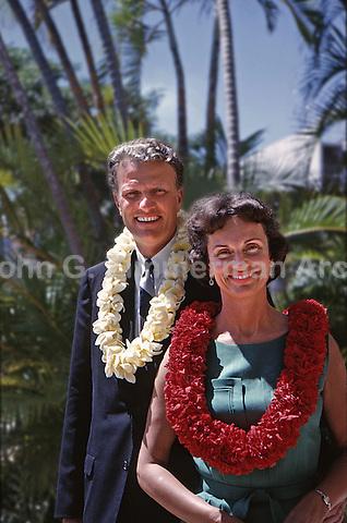Billy Graham and wife, Ruth, Honolulu Hawaii, 1963. Photo by John G. Zimmerman.