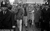 Tariq Ali and Vanessa Redgrave lead the march, anti-Vietnam war demonstration from Trafalgar Sq to Grosvenor Sq Sunday 17th March 1968.  I was told the headband was a Vietnamese sign of mourning for dead children.
