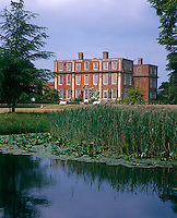 The 18th century facade of Chicheley Hall viewed from the park