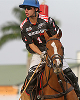 WELLINGTON, FL - FEBRUARY 05:  Nico Escobar #1 of Orchard Hill, celebrates after scoring, during one of the early matches of the Ylvisaker Cup at the International Polo Club Palm Beach on February 05, 2017 in Wellington, Florida. (Photo by Liz Lamont/Eclipse Sportswire/Getty Images)