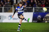 Rhys Priestland of Bath Rugby kicks for the posts. Aviva Premiership match, between Bath Rugby and Northampton Saints on February 10, 2017 at the Recreation Ground in Bath, England. Photo by: Patrick Khachfe / Onside Images