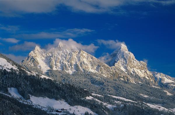 Mythen Mountains at sunset, Schwyz, Switzerland, Europe