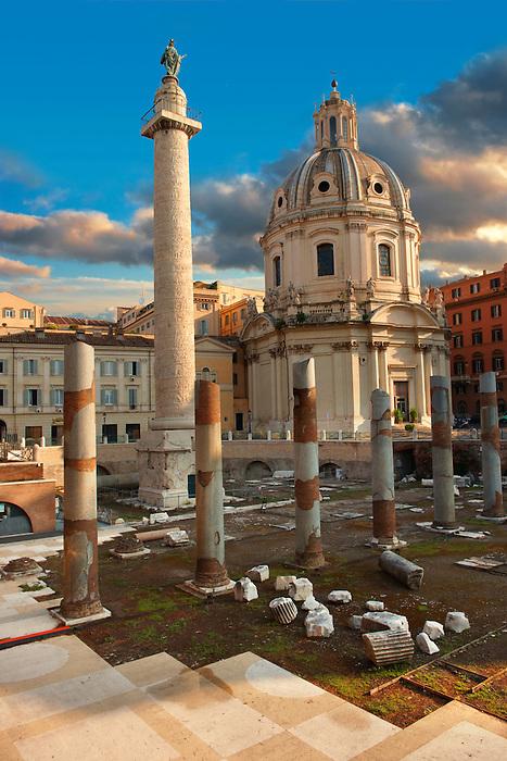 Columns of Emperors Trajan's Forum and Trajans Column . Rome