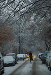 Walking in the snow in Greenwich Village