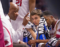 NWA Democrat-Gazette/J.T. WAMPLER Arkansas' head coach Mike Anderson talks to his squad during a timeout in the final minutes of the game against Seton Hall  Friday Mar. 17, 2017 during the first round of the NCAA Tournament at the Bon Secours Wellness Arena in Greenville, South Carolina. Arkansas won 77-71 and will advance to the second round, playing Sunday at the same location.