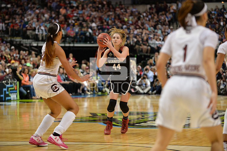 Dallas, TX - Friday March 31, 2017: Karlie Samuelson prior to the NCAA National Semifinal Game between the women's basketball teams of Stanford and South Carolina at the American Airlines Center.