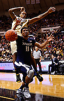 WEST LAFAYETTE, IN - DECEMBER 01: Dee Davis #11 of the Xavier Musketeers and Jacob Lawson #34 of the Purdue Boilermakers battle for a rebound at Mackey Arena on December 1, 2012 in West Lafayette, Indiana. (Photo by Michael Hickey/Getty Images) *** Local Caption *** Dee Davis; Jacob Lawson