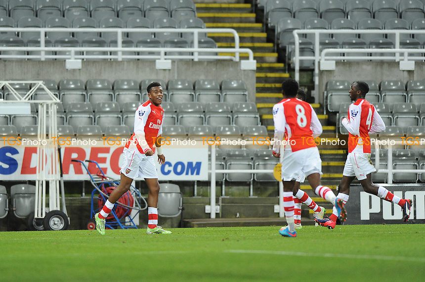 Alex Inobi of Arsenal celebrates scoring the opening goal of the game - Newcastle United Under-21 vs Arsenal Under-21 - Barclays Under-21 Premier League Football at St James Park, Newcastle United FC - 09/02/15 - MANDATORY CREDIT: Steven White/TGSPHOTO - Self billing applies where appropriate - contact@tgsphoto.co.uk - NO UNPAID USE