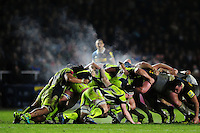 A general view of steam rising from a scrum. Aviva Premiership match, between Harlequins and Sale Sharks on January 7, 2017 at the Twickenham Stoop in London, England. Photo by: Patrick Khachfe / JMP
