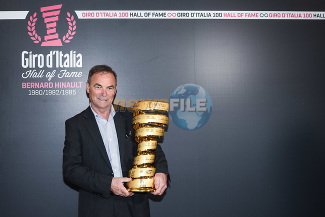 Bernard Hinault is inducted into the Giro d'Italia Hall of Fame 2017. The French champion receives his entry with his three successes in 1980, 1982 and 1985. Teatro Gerolamo, Milan, Italy. 28th March 2017.<br /> Picture: RCS Media | Cyclefile<br /> <br /> <br /> All photos usage must carry mandatory copyright credit (&copy; Cyclefile | RCS Media)
