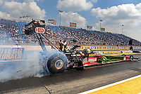 Jul, 10, 2011; Joliet, IL, USA: NHRA top fuel dragster driver Terry McMillen during the Route 66 Nationals at Route 66 Raceway. Mandatory Credit: Mark J. Rebilas-