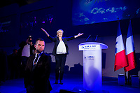 Marine Le Pen delivers her speech during at the first round of the 2017 French presidential election