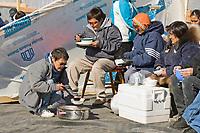 Nalukataq festival, celebrating the successful subsistence spring Bowhead whale hunt, Utqiagvik (Barrow), Alaska.