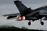 A German Tornado fighter takes off. Nato Tiger Meet is an annual gathering of squadrons using the tiger as their mascot. While originally mostly a social event it is now a full military exercise. Tiger Meet 2012 was held at the Norwegian air base Ørlandet.