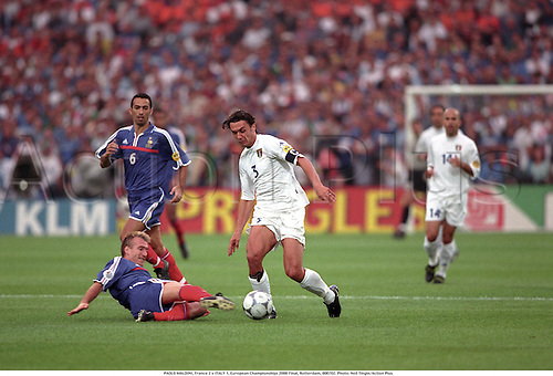 PAOLO MALDINI, France 2 v ITALY 1, European Championships 2000 Final, Rotterdam, 000702. Photo: Neil Tingle/Action Plus....2000.soccer.football
