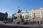 Equestrian statue of St. Wenceslas in Wenceslas Square, (Czech: Vaclavske Namesti) one of Prague's main squares, in New Town, Prague, Czech Republic, Europe