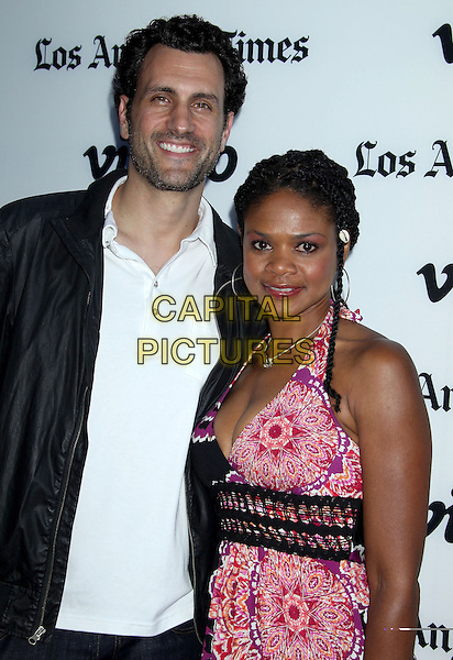 James LaRosa &amp; Kimberly Elise<br /> Attending the &quot;Some Girl(s)&quot; Los Angeles Premiere held at Laemmle NoHo 7, North Hollywood, California, USA, 27th June 2013.<br /> half length white shirt black jacket pink print <br /> CAP/ADM/RE<br /> &copy;Russ Elliot/AdMedia/Capital Pictures