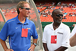 22 June 2008: Washington head coach Jim Gabarra (l) with assistant coach Clyde Watson (r). The Washington Freedom defeated the Richmond Kickers Destiny 5-0 at RFK Stadium in Washington, DC in a United Soccer Leagues W-League friendly.