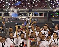Monarcas Morelia celebrate SuperLiga win. Monarcas Morelia defeated the New England Revolution, 2-1, in the SuperLiga 2010 Final at Gillette Stadium on September 1, 2010.