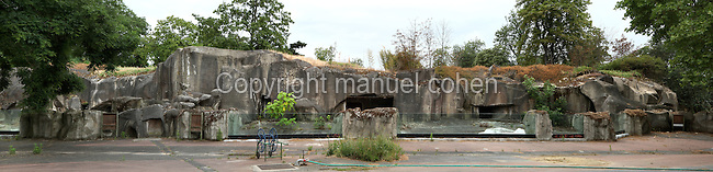 Panoramic view of rock feature, Parc Zoologique de Paris, or Zoo de Vincennes, (Zoological Gardens of Paris, also known as Vincennes Zoo), 1934, by Charles Letrosne, 12th arrondissement, Paris, France, pictured on June 10, 2011 in the afternoon. In November 2008 the 15 hectare Zoo, part of the Museum National d'Histoire Naturelle (National Museum of Natural History) closed its doors to the public and renovation works will start in September 2011. The Zoo is scheduled to re-open in April 2014. Picture by Manuel Cohen.