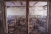 A kindergarten nursery room in Pripyat, a ghost town left deserted by the nuclear disaster in the Chernobyl power station nearby. 30 years on, the city is still heavily contaminated, unfit for human life. <br /> <br /> The Chernobyl nuclear disaster happened on 26 April 1986.