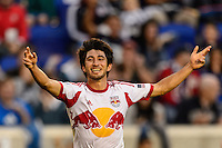 Kosuke Kimura (27) of the New York Red Bulls celebrates an FC Dallas own goal. The New York Red Bulls defeated FC Dallas 1-0 during a Major League Soccer (MLS) match at Red Bull Arena in Harrison, NJ, on September 22, 2013.