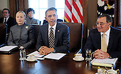 United States President Barack Obama, center, speaks during a Cabinet Meeting as U.S. Secretary of State Hillary Rodham Clinton, left, and U.S. Secretary of Defense Leon Panetta listen in the Cabinet Room, January 31, 2012 at the White House in Washington, DC. .Credit: Olivier Douliery / Pool via CNP