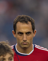 Chivas USA midfielder Nick LaBrocca (10). In a Major League Soccer (MLS) match, Chivas USA defeated the New England Revolution, 3-2, at Gillette Stadium on August 6, 2011.