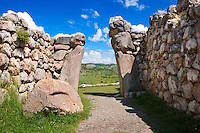 Photo of the Hittite releif sculpture on the Kings gate to the Hittite capital Hattusa.1