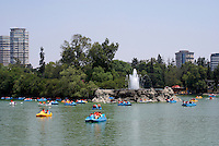 Rented Boats on the Lago de Chapultepec and Casa del Lago in the First section of Chapultepec Park, Mexico City