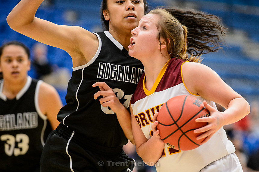 Trent Nelson  |  The Salt Lake Tribune<br /> Mountain View's Amber Hirchak (21), defended by Highland's Fifita Tonga (31), as Mountain View faces Highland in the 4A state basketball tournament at Salt Lake Community College in Taylorsville, Tuesday February 17, 2015.