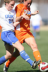 Duke's Rebekah Fergusson (24) and Florida's Megan Kerns (8) on Saturday, March 3rd, 2007 on Field 1 at SAS Soccer Park in Cary, North Carolina. The University of Florida Gators played the Duke University Blue Devils in an NCAA Division I Women's Soccer spring game.