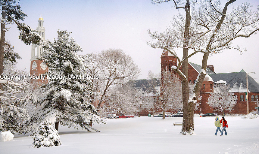 Ira Allen Chapel and Billings Library, UVM Campus Green, Winter UVM Campus