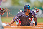 4 March 2013: Minnesota Twins outfielder Aaron Hicks dives safely back to first during a Spring Training game against the St. Louis Cardinals at Roger Dean Stadium in Jupiter, Florida. The Twins shut out the Cardinals 7-0 in Grapefruit League play. Mandatory Credit: Ed Wolfstein Photo *** RAW (NEF) Image File Available ***