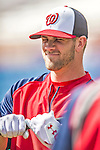 22 February 2013: Washington Nationals' outfielder Bryce Harper awaits his turn in the batting cage during a full squad Spring Training workout at Space Coast Stadium in Viera, Florida. Mandatory Credit: Ed Wolfstein Photo *** RAW File Available ***