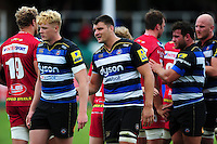 David Sisi of Bath Rugby shakes hands with the opposition after the match. Pre-season friendly match, between the Scarlets and Bath Rugby on August 20, 2016 at Eirias Park in Colwyn Bay, Wales. Photo by: Patrick Khachfe / Onside Images