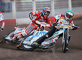 Heat 2 - Moore (green), Mills (blue) - Lakeside Hammers vs Swindon Robins - Sky Sports Elite League at Arena Essex, Purfleet - 17/08/07  - MANDATORY CREDIT: Gavin Ellis/TGSPHOTO - SELF-BILLING APPLIES WHERE APPROPRIATE. NO UNPAID USE. TEL: 0845 094 6026..