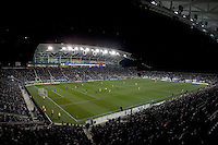Play continues into the second half during the game at PPL Park in Chester, PA.  Houston defeated Philadelphia, 2-1, to take home the one goal advantage in the home and home series..