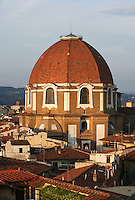 General view of Medici Chapel, Florence, Italy,  pictured on June 9 2007 in the late afternoon. The Medici Chapels, part of the San Lorenzo Basilica, house the Medici Mausoleum. The octagonal dome, 59 metres high, surmounting the Cappella dei Principi was designed by Matteo Nigetti (c.1560s-1648) and built 1604-40. Picture by Manuel Cohen