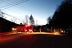 TORRINGTON, CT, 17 DEC 13- 121713AJ01- Firefighters closed Route 44 at the intersection of Ashpohtag Road in Norfolk Monday night following a fatal crash nearby. Christopher Massa/ Republican-American