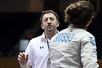 "DURHAM, NC - FEBRUARY 25: Notre Dame head coach Guiorgie ""Gia"" Kvaratskhelia (GEO) talks to Francesca Russo during the Women's Saber championship match. The Atlantic Coast Conference Fencing Championships were held on February, 25, 2017, at Cameron Indoor Stadium in Durham, NC."