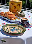 Coffee and croissants on a summer day on Lake Como, Italy