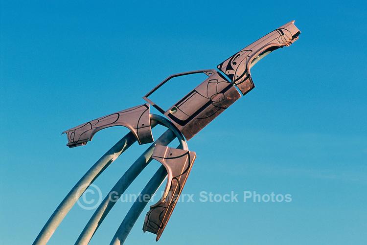 "Haida Aboriginal Art, University of British Columbia (UBC), Vancouver, BC, British Columbia, Canada - Contemporary Sculpture entitled ""Take-Off"" aka ""Take Off"" (artist - Michael Nicoll Yahgulanaas) - made from Recycled Car Parts to resemble Mallard Duck taking Flight"