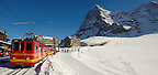 The Kleiner Scheidegg train station with the North face of the Eiger - Swiss Alps - Switzerland