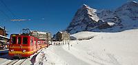 The Kleiner Scheidegg train station with the North face of the Eiger - Swiss Alps - Switzerland